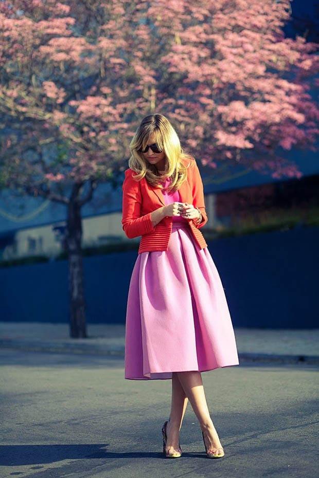 Длинная юбка в стиле колор блок