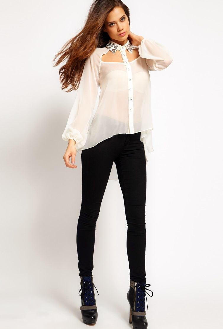 Блузка и джинсы в стиле бэби долл