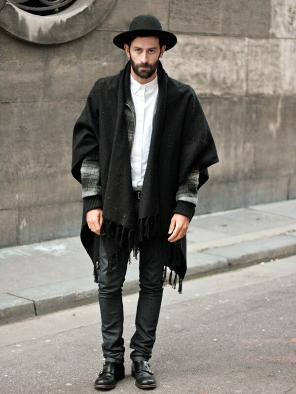 Мужские черные джинсы в стиле гаучо