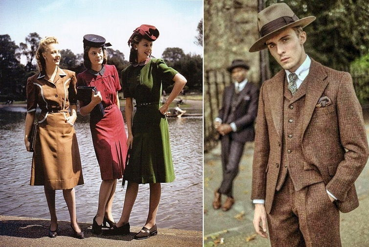 Винтажный стиль в одежде 40-х