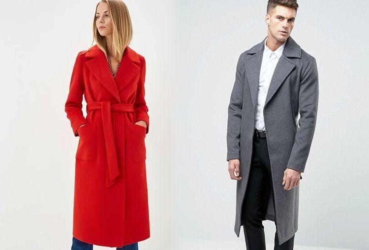 Мужское и женское пальто с запахом