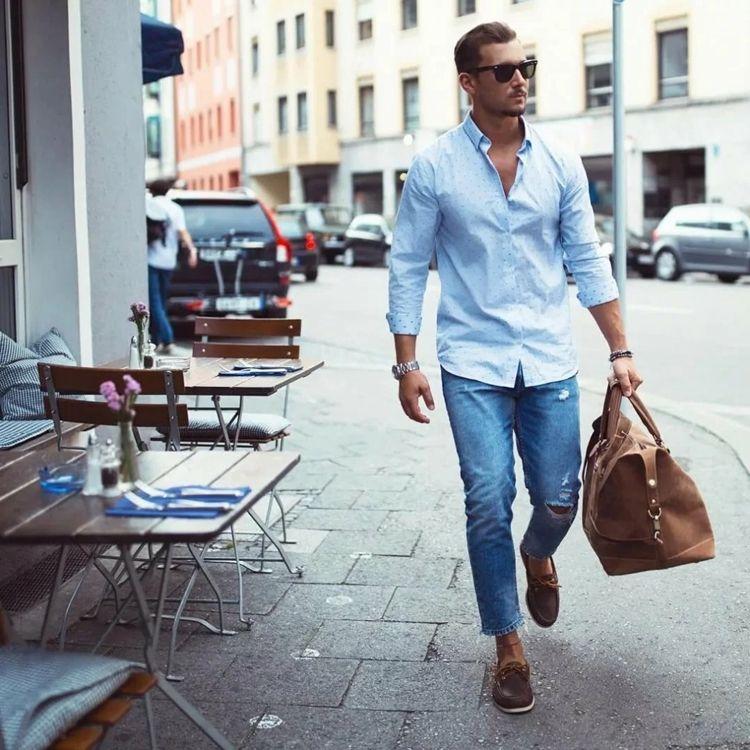 С чем носить джинсы-бананы мужчинам