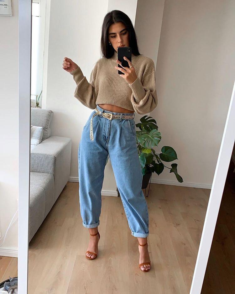 С чем носить джинсы-бананы женщинам - фото