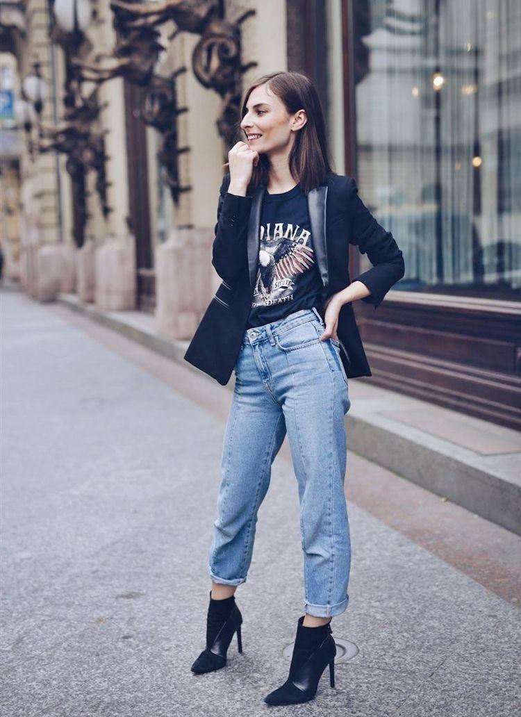 Джинсы мом с пиджаком - образ