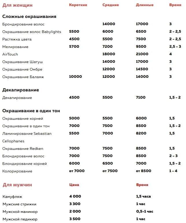 Colbacolorbar - услуги и цены - прайс