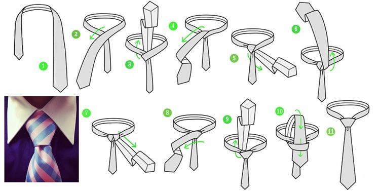 Виндзорский узел для галстука - как завязать - фото